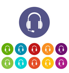 headphones set icons vector image