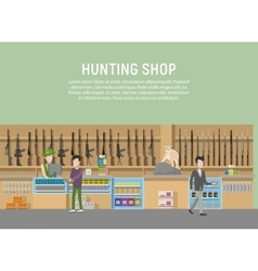 Hunting shop interior with rifle and gun weapon vector
