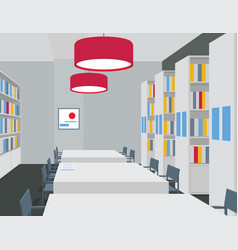 library interior with tables chairs bookcases vector image vector image