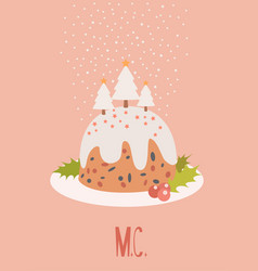 Merryc christmas pudding card vector