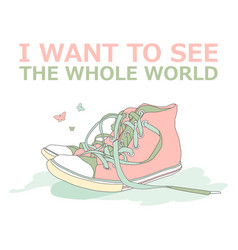 Motivational travel poster with sneakers travel vector