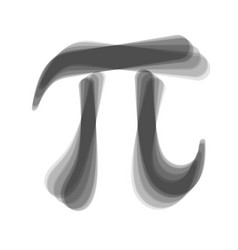 Pi greek letter sign gray icon shaked at vector