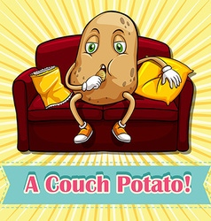 Potato eating chips on couch vector