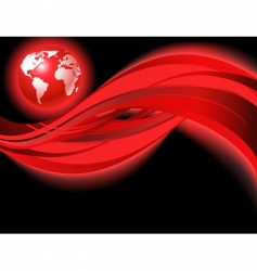 red business world map wave vector image