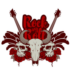 rock and roll banner with guitar skulls and roses vector image vector image