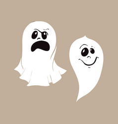 Set of ghost characters emoticons isolated on vector