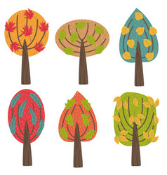 set of isolated autumn trees vector image vector image