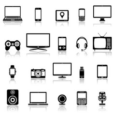 technology devices and multimedia gadgets icons vector image vector image