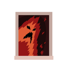 Terrible monster in window scary ghost silhouette vector