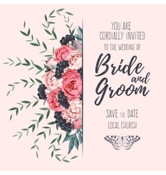 Wedding invitation with peonies vector image vector image
