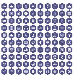 100 hi-tech icons hexagon purple vector