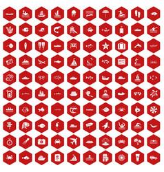100 ocean icons hexagon red vector