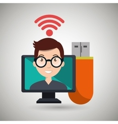 Man computer wifi usb vector