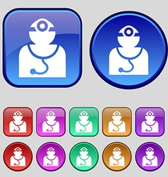 Doctor with stethoscope around his neck icon sign vector