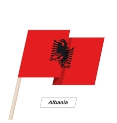 Albania Ribbon Waving Flag Isolated on White vector image