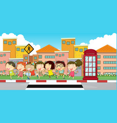 many children on the sidewalk vector image