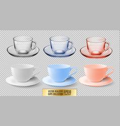 A set of glass and ceramic tea cups transparent vector
