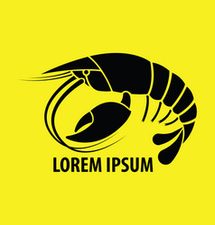 Crayfish flat icon on yellow background vector