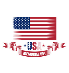 Memorial day card with usa flag vector