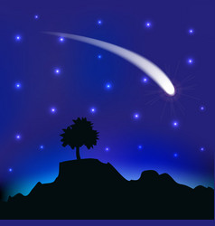 Flying comet in the night sky vector