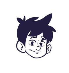 Cartoon small boy outlines vector