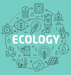 Green line flat circle ecology vector