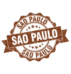 Sao paulo round ribbon seal vector