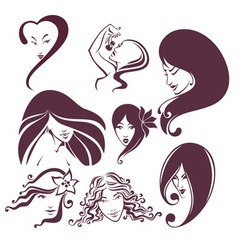 Woman heads vector