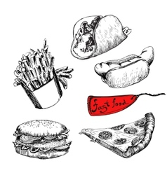 Fast food set of vector
