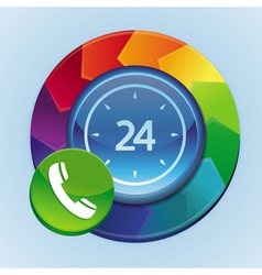 24 hour support icon vector image