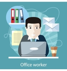 Office worker sitting in front of computer vector