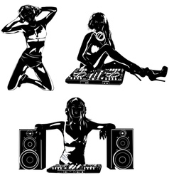 Young sexy woman dj silhouettes vector