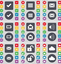Tick apps message battery sound lock cloud icon vector