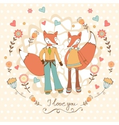 Concept love card with cute fashionable foxes vector