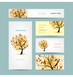 Business cards design holiday tree vector