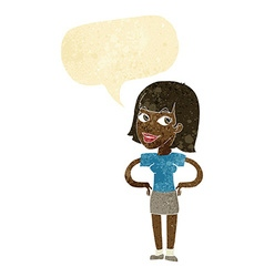 Cartoon happy woman with hands on hips with speech vector