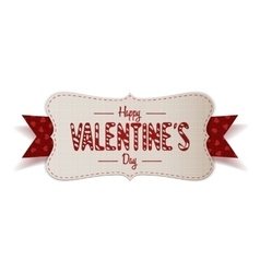 Valentines day greeting banner with red ribbon vector
