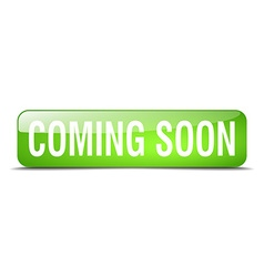 Coming soon green square 3d realistic isolated web vector