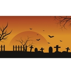 Silhouette of halloween grave and bat vector