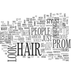African american hair style for the prom text vector