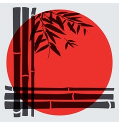 Bamboo trees and leaves with red sun on white vector