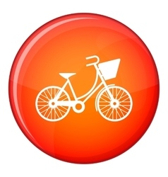 Bike with luggage icon flat style vector