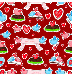 Birds in love and friendship seamless background vector