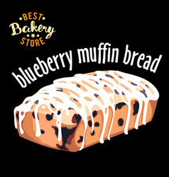 blueberry muffin bread baked bread product vector image vector image