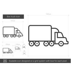 Box truck line icon vector