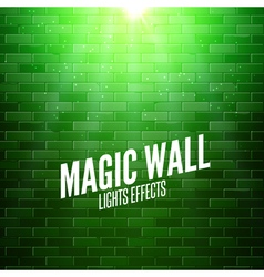 Brick wall with lights Colorful light shining on a vector image vector image