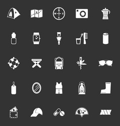 Camping necessary icons on gray background vector
