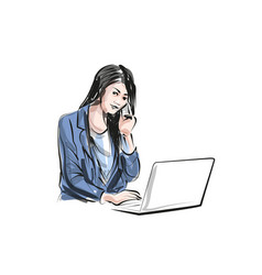 color line sketch of working woman vector image