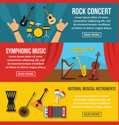 Concert poster banner horizonatal set flat style vector