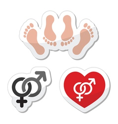 Couple sex making love icons as labels set vector